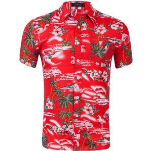 vestido Top 3D streetwear camisas padrão floral manga curta estilo havaiano praia 3D Flamingo flores dos homens impressos camisas casuais