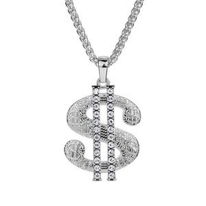 Mode Männer Hip Hop Große Anhänger Halsketten Schmuck 18 Karat vergoldet Vollrhinestone 75cm Langkette Amerikanische Stern Tragen Halskette für Herren