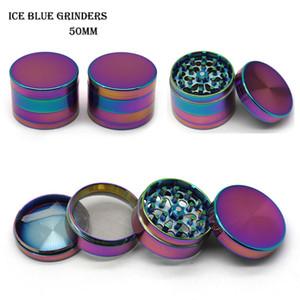 Hot Ice Blue Grinder New Color 40 50 55 63mm 4 Stück Grinder Magnet Top-Zink-Legierung-Material VS Sharpstone Grinders