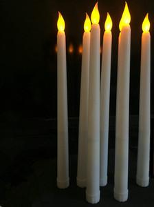 batería de 50pcs LED que funcionen sin llama vacilante de Marfil lámpara de vela cónica mesa de boda de velas de Navidad con Iglesia decoración 28cm (H) T191026