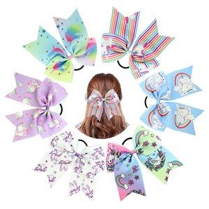 DHL = 100PCS 7-Zoll-Haar-Bogen-Karikatur-Einhorn cheer beugt elastische Haar-Bänder / HAIR CLIP-Band für Mädchen-Haar-Zusätze YL834