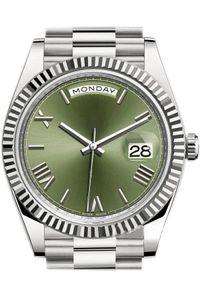 الرجال الكلاسيكية رياضة ساعة DAY تاريخ m228239 40MM الأخضر الأسبوع تقويم الطلب التلقائي لف الساعات الياقوت الميكانيكية حزام الفولاذ المقاوم للصدأ