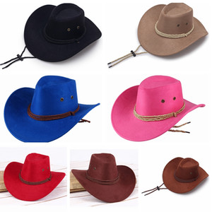 Occidental Unisex Vaquero Sombreros Hombres Retro Sol Visera Caballero Sombrero Cowgirl Wide Sombreros Sombreros Verano Turismo al aire libre Headwear LT-TTA833