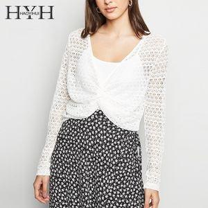 HYH Haoyihui Women 섹시 보헤미안 비치 스타일 탑 2019 뉴 여름 니트 브리프 솔리드 홀로 아웃 딥 딥넥 오버 코트