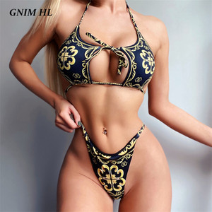 Bandage Swimsuit Mulheres Two Piece Thong Bikini Mujer 2020 Sexy oco Out Imprimir fato de banho Verão Mulheres Halter Swimwear Biquini