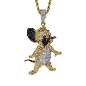 18K gato do ouro e Colar do rato Jerry gelado Cubic presente Jóias Hip Hop Zircon Mens Fora