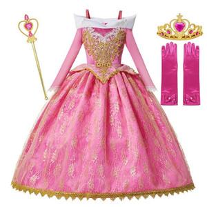 Filles de luxe Princesse Costume manches longues Sleeping Beauty Party Pageant robe enfants Fancy Dress Up Frocks Pour la fête d'anniversaire par DHL envoi