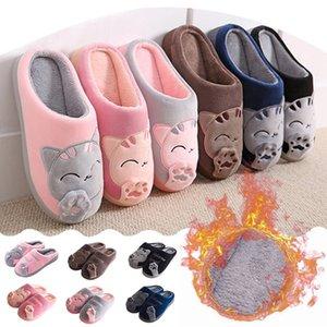JAYCOSIN Kadınlar Kış Ev Terlik Karikatür Kedi Kaymaz Sıcak Kapalı Yatak Odası Kat Ayakkabı Terlik Sevimli Pamuk Mop İçin Kızlar # 45