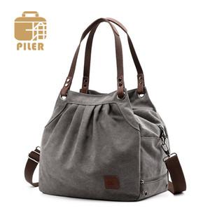 Piler femmes de toile et sacs à main Designer Sac à bandoulière Bowling dames Sac à main Femmes sacs à main seau sac à bandoulière en toile de