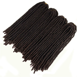Sentetik Örgü Dreadlocks Saç Uzantıları Isıya Dayanıklı Fiber Düz Tanrıça Sahte LOCS Ombre Kahverengi Siyah Renk Tığ Örgü Saç