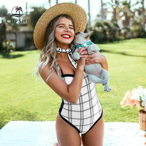 흰색과 검은 색 격자 무늬 두건 섹시한 패딩 컵 여성 모노 키니 2020 비치 수영복 수영복과 원피스 수영복
