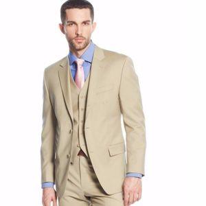 Совершенно новый хаки жениха смокинги надрезом отворотом жениха свадебный костюм 3 шт. Отличный мужской деловой выпускной пиджак пиджак (куртка + брюки + галстук + жилет) 66