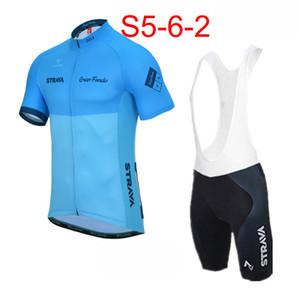 2019 Mens STRAVA Team Cycling Abbigliamento Set Bike Jersey Bibs Shorts Kit estate quick dry Bicicletta manica corta abbigliamento 52909