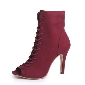 10 cm 2019 Yeni Seksi Kadın Roma Bağcık Sandalet Patik Peep Toes süper yüksek topuk yaz Ganimet Ayakkabı büyük boy Ab 34-Eu 43 Toptan