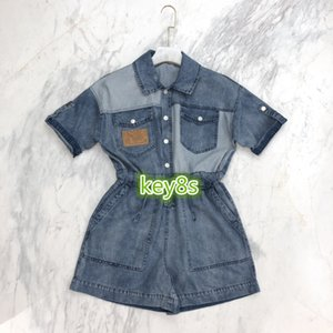 2020 high end women girls Rompers shorts short sleeve lapel neck fashion women Retro washed denim jumpsuit casual trousers jeans