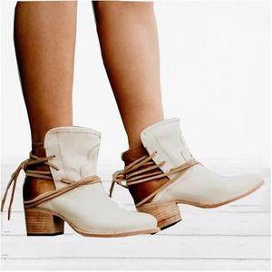 Female Retro Frenulum Boots Fall Winter Artificial PU Retro Style Comfortable Rough Heel Shoes Warm Pure Color Anti-slip Boots
