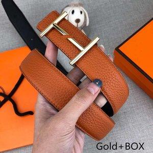 Cinture di design da uomo da donna Cinture di lusso Cinture alla moda H Fibbia liscia in oro dorato Cintura in pelle arancione Larghezza 34mm Alta qualità con scatola