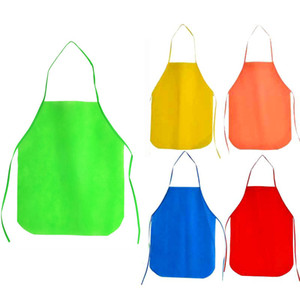 Non woven Fabric Apron Kitchen Children Kids Disposable Aprons Cooking Baking Painting Apron Fast Shipping QW9652