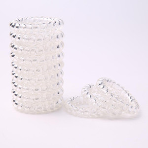 Transparent Clear Spiral Hair Ties Elastic Ponytail Holders Phone Cord Traceless Hair Ties for Women big girl