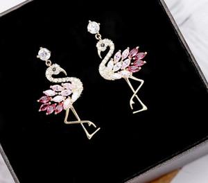 Haute Qualité Designer De Luxe 925 Argent Boucles D'oreilles Mignon Flamingo Boucles D'oreilles Bijoux avec Rose Violet Cristal pour Femmes