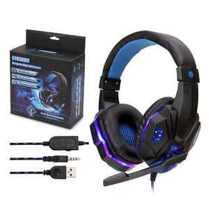 2.2m Hot Gaming Headset Stereo Surround Earphone Noise Cancelling With Light Mic Deep Bass Headphones For PS4 Laptop Gamer