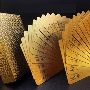 Новый 24K Gold игральные карты для игры в покер Колода Gold Foil Poker Set Пластиковые карты Магия Водонепроницаемый карты Магия Водонепроницаемый высокого качества