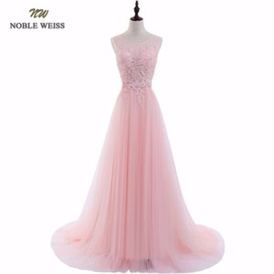Noble Weiss Sexy O-neck A-line Sweep Train Tulle Lace Evening Dress Bare Back Cheap Prom Dresses Robe De Soiree Party Dress Y19051401