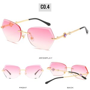 Getrimmten randlos Sonnenbrillen Frameless getrimmt Rechteck Sonnenbrillen Kleine Randlos Sonnenbrillen Frauen-Weinlese Gradient Brillen Sun 5MHNT