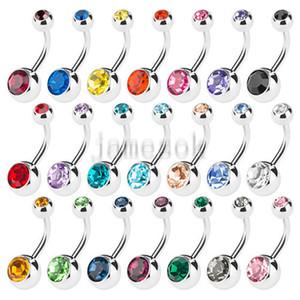 Novo Botão de Aço Inoxidável Anéis Anéis Umbigo Anéis de Cristal Rhinestone Piercing Barras Jewlery for Women's Bikini Fashion Jewelry DC712