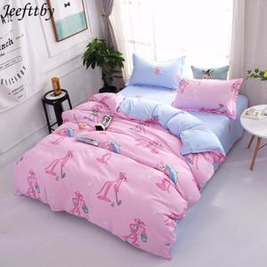 Jeefttby Cartoon panthère rose mignon enfant 3 / 4pcs ensembles de literie drap de lit Housse de couette Taie Linge de lit double pleine Reine Roi