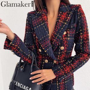 Glamaker Tweed chaqueta de moda chaqueta desgaste de la oficina de las mujeres de pecho doble capa caliente del invierno outwear otoño femenina chaqueta a cuadros Y200107 dama