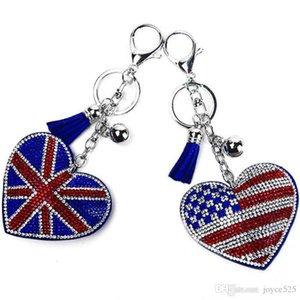 New keychain britânico e americano criativo padrão de bandeira com strass preenchido acessórios do carro Ladies saco de moda pingente de bagagem