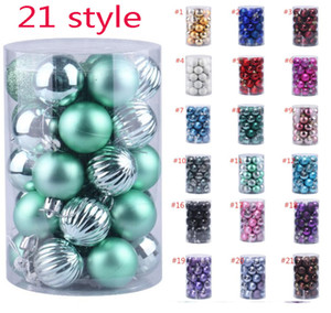 34PCS SET Christmas Ball Ornament For Christmas Decorations Tree Balls For Holiday Wedding Party Decoration Tree Ornaments Hooks HH9-A2589