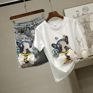Conjunto de dos piezas abejas mujeres del arco T-shirt de dibujos animados de las lentejuelas camiseta de encaje Casual camiseta + juegos de falda de mujer Jeans Conjuntos Denim falda corta