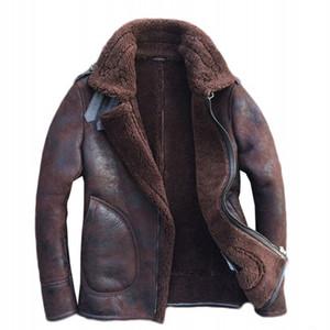 Armée Vintage Natural shearling Mens Flight Jacket peau de mouton véritable cuir véritable fourrure Doublure hiver Outwear Manteau