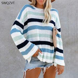 SWQZVT Pullover Frauen Aufflackern-Hülsen-gestreifter Pullover stricken Frauen 2020 Herbst-Winter-warme Kleidung Lässige Pullover
