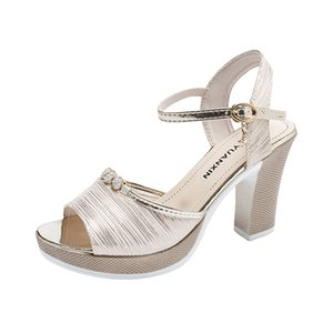 Platform Women Sandals Fashion Buckle Strap Bohemian Ladies Sandals for Women Shoes Square High Heels Bling Gold Silver Shoes Y200702