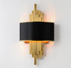 Ouro arandelas de parede Luminárias Quarto Sala Preto Abajur Lâmpada de parede AC90-260V LED Wall Lamp LLFA