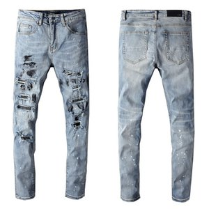 Mens Designer Jeans Fashion Skinny Trendy Trousers Ripped Slim Fit Stretch Denim Distress Frayed Jeans Boys Tide Pants 2020 New