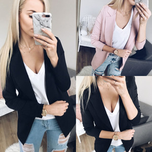 OL Slim Casual manches longues Blazer Feminino femmes Blazers et vestes Top Costume Casual Blazer Cardigan ouvert Point Zip-up