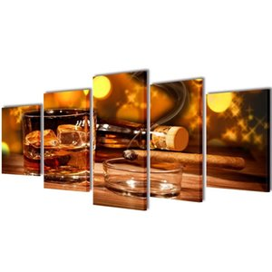 September 5 Pcs Print On Canvas By Wall Whiskey And Cigar 100 X 50 Cm Wall Stickers