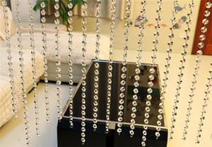 Painel Porta 1m de Cordas Cortinas Crystal Glass Beads Cortina porta janela Sheer Curtains Valance Para Decor Sala Casamento # 20