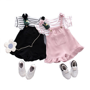 Summer Baby Girls Clothing Kids Striped T-shirt Cartoon Decoration Strap Shorts Sports Suit Newborn Outfit Infant Clothes Sets