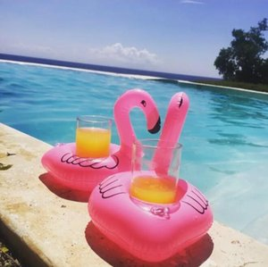 Gonfiabile Holder Flamingo Bevande Cup Pool Galleggianti Bar Coasters galleggiamento Devices bambini Toy Bagno 10 p / l