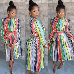 Kadın Elbise Lüks Tasarımcı Uzun Kollu Bayan Giyim Yeni Moda Günlük Bayan Elbise Çizgili Çoklu Renk Baskı