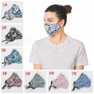 Paisley цветочные письма маски печататься ртом покрытие защитные открытой взрослая моющиеся взрослые пыле маски с фильтром карманом FFA4238-4