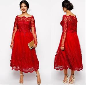 Mãe Red baratos Vintage do ombro Noiva Vestidos Off comprimento Plus Size mangas compridas Lace apliques Tea vestido de festa de casamento Vestidos de Clientes