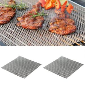 2 X BBQ Grill Mesh Mat Sheets Non Stick Oven Liners Reusable Gas Baking Tary