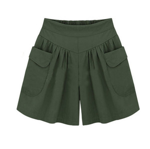Women's Summer Shorts Casual Fashion Plus Size Solid Loose Hot Pants Pockets Lady Summer Casual Shorts Pantalones Cortos #YY