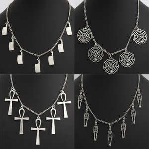 1 stück Silber Spinnennetz Kreuz Schädel Kochmesser Anhänger Männer Küchenmesser Schmuck Halloween Halskette Frauen Schmuck